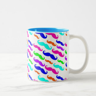Neon bright colors mustaches mug