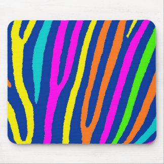 Neon bright colors zebra stripes mousepad