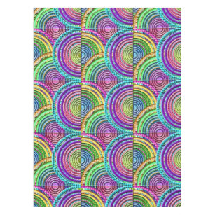 Neon Bright Cool Funky Geometric Circles Pattern Tablecloth