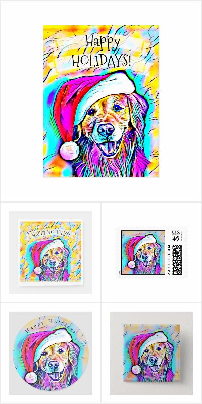 Neon Bright Golden Retriever Christmas