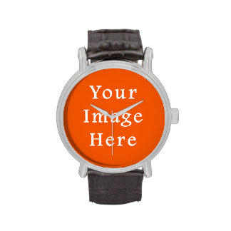 Neon Bright Orange Color Trend Blank Template Wrist Watches