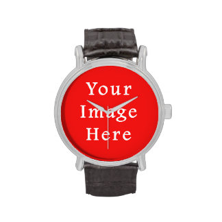 Neon Bright Red Color Trend Blank Template Wristwatches