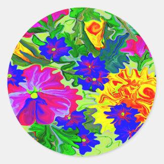 Neon brite flower bed sticker fun
