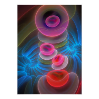 Neon Bubbles, cool artistic abstract Poster