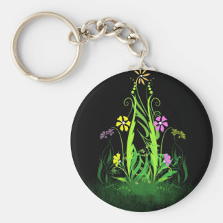 Neon Butterflies and Daisies Keychain