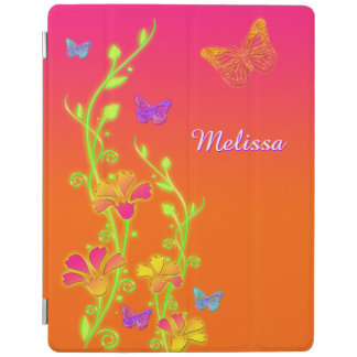 Neon Butterflies, Floral iPad 2/3/4 Cover