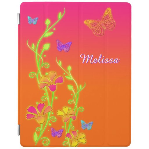 Neon Butterflies, Floral iPad 2/3/4 Cover iPad Cover