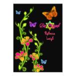 Neon Butterflies & Flowers Bat Mitzvah Invite 2