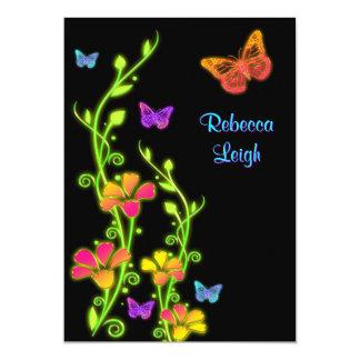 Neon Butterflies & Flowers Bat Mitzvah Invite 3