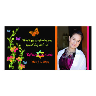Neon Butterflies & Flowers Photo Thank You Card