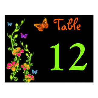 Neon Butterflies & Flowers Table Number Post Card