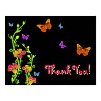 Neon Butterflies & Flowers Thank You Post Card