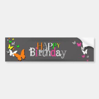 Neon Butterflies Happy Birthday - Bumper Sticker