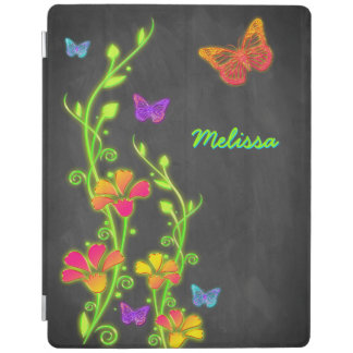 Neon Butterfly Floral Chalkboard iPad 2/3/4 Cover