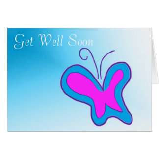 Neon Butterfly Get Well Soon Card