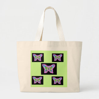 Neon Butterfly Large Tote Bag