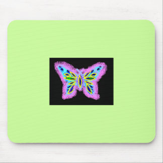 Neon Butterfly Mouse Pad
