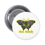 Neon Butterfly Pinback Button