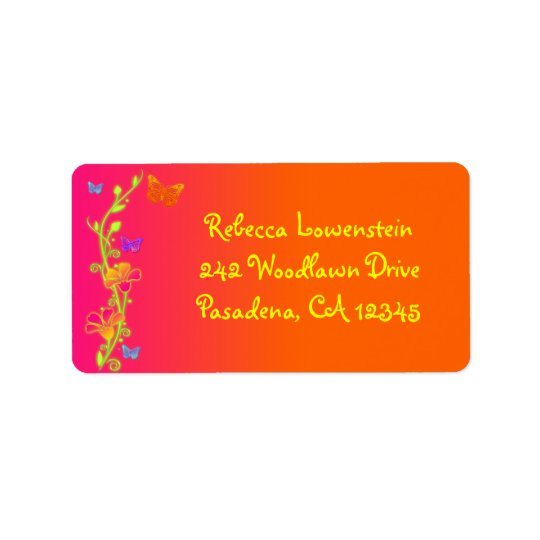 Neon Butterfly Return Address Label 3