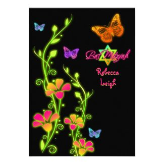 Neon Buttterflies & Flowers Bat Mitzvah Invite 2