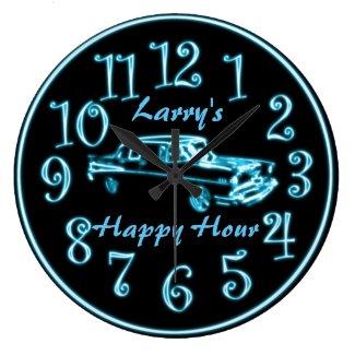 Neon Car, Custom Name Happy Hour Clock
