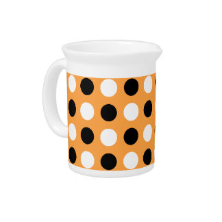 Neon Carrot Polka Dots Drink Pitcher