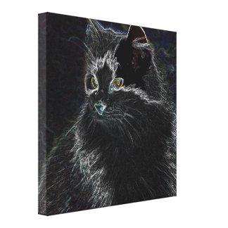 Neon Cat Canvas Prints