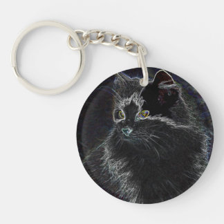 Neon Cat Acrylic Key Chain