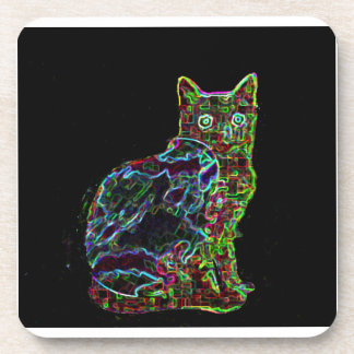Neon Cat on Black Background Beverage Coasters