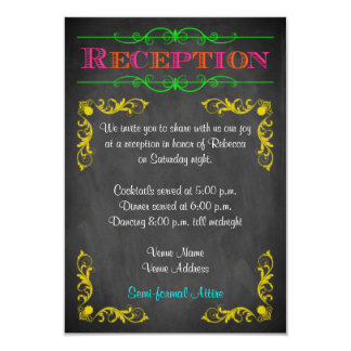 Neon Chalkboard Bat Mitzvah Reception Card