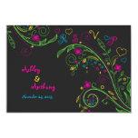 "Neon Chalkboard Doodle Wedding Reply Card 3.5"" X 5"" Invitation Card"