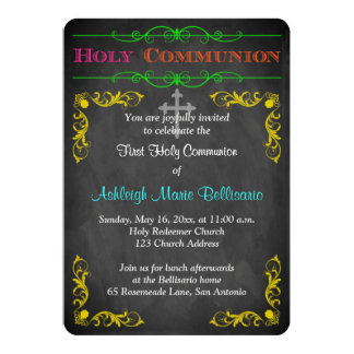 Neon Chalkboard First Holy Communion Invite