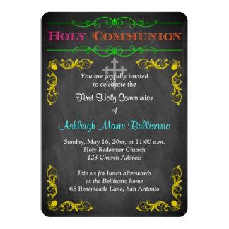 "Neon Chalkboard First Holy Communion Invite 5"" X 7"" Invitation Card"