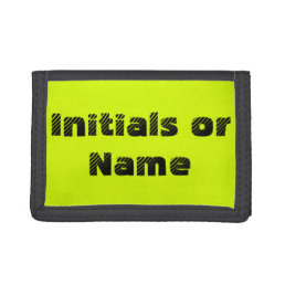 Neon Chartreuse Personalized Trifold Wallet