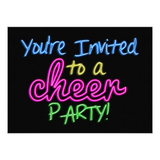Neon Cheer Party Invitation Card
