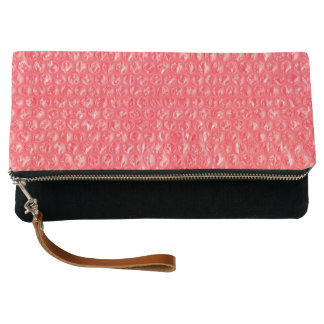 Neon Cherry Red Pop Bubble Wrap Clutch