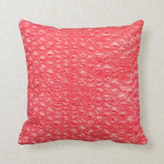 Neon Cherry Red Pop Bubble Wrap Throw Pillow