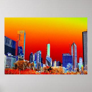Neon Chicago Skyline Fine Art Poster