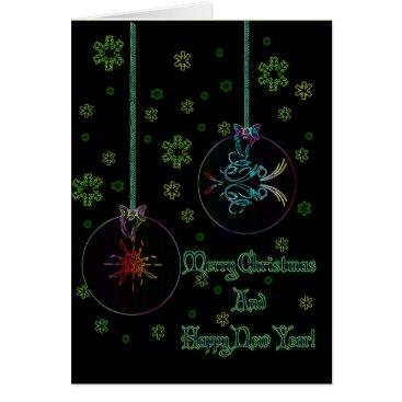 Christmas Themed Neon Christmas Balls Card