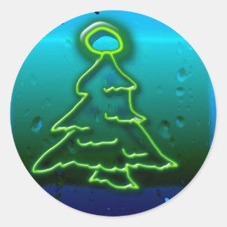 neon christmas classic round sticker