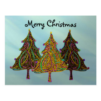 Neon Christmas Lights Postcard