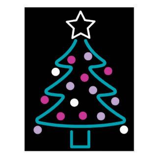 Neon Christmas Tree Postcard