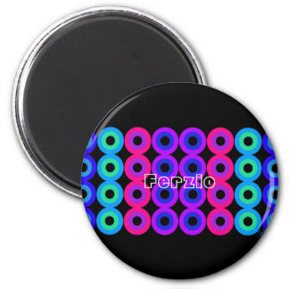 Neon Circles 2 Inch Round Magnet