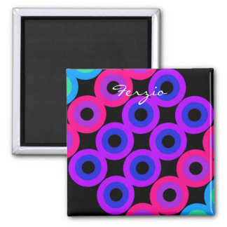 Neon Circles 2 Inch Square Magnet