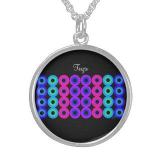 Neon Circles Round Pendant Necklace