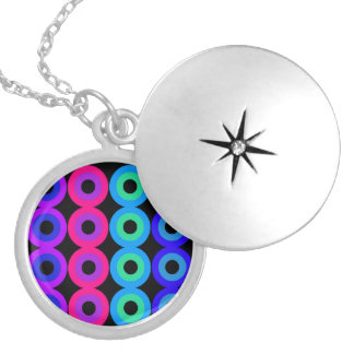 Neon Circles Silver Plated Necklace
