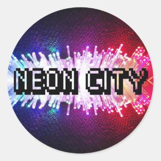 Neon City Classic Round Sticker