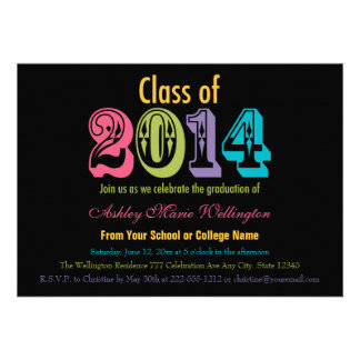 Neon Class of 2014 Graduation Party Invitations