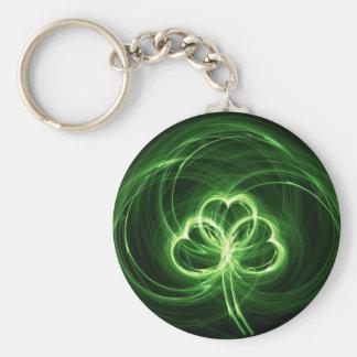 Neon Clover Fractal Keychain
