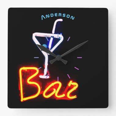 Neon Cocktail Bar Den Mancave Personalized Wall Square Wall Clock